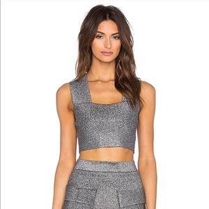 "A.L.C ""Ali"" silver metallic crop top S"